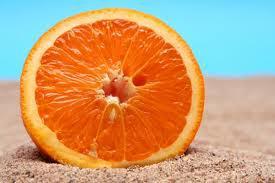 orange on sand